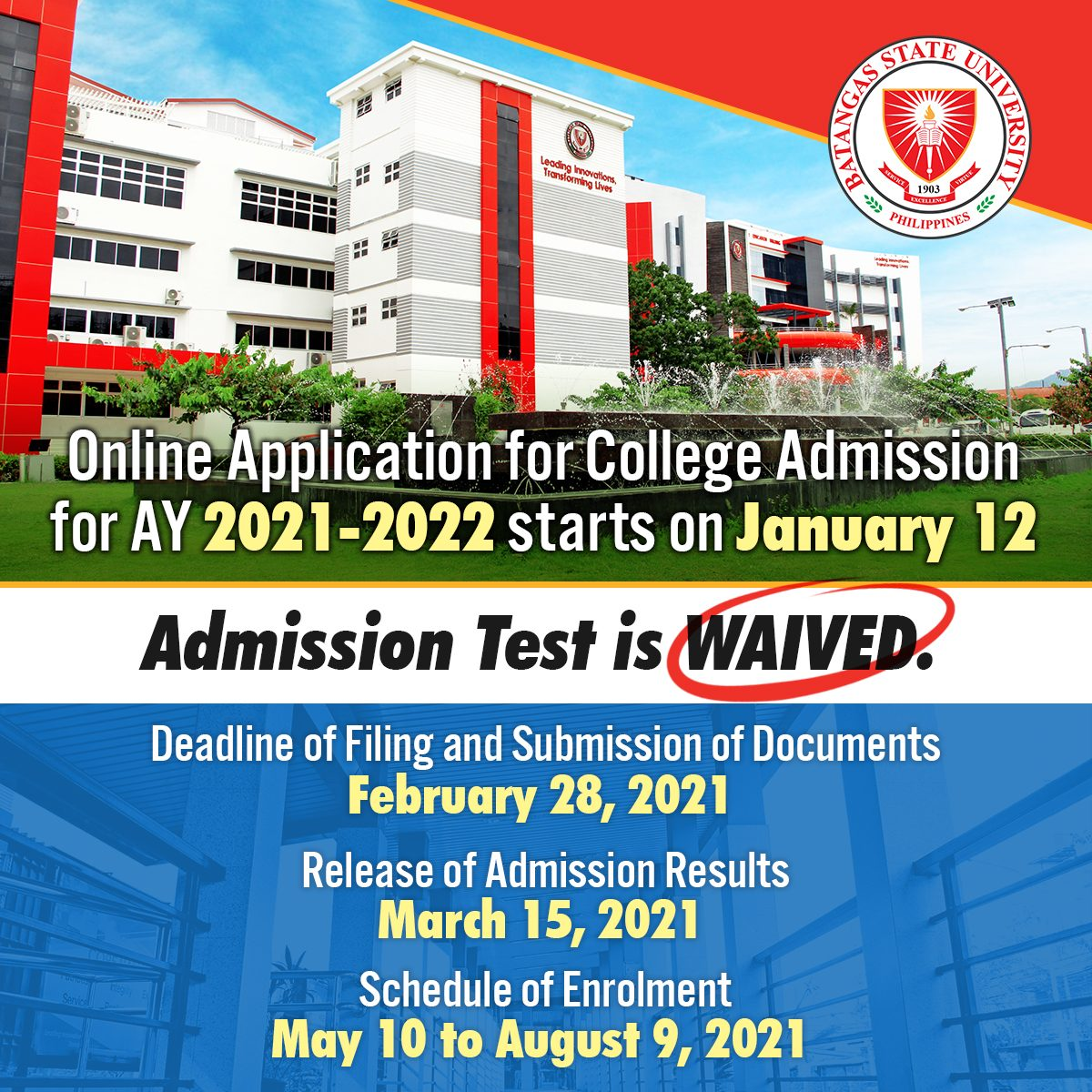 Bsu Academic Calendar 2022.The Batstateu College Admission Test For Ay 2021 2022 Is Waived Batangas State University